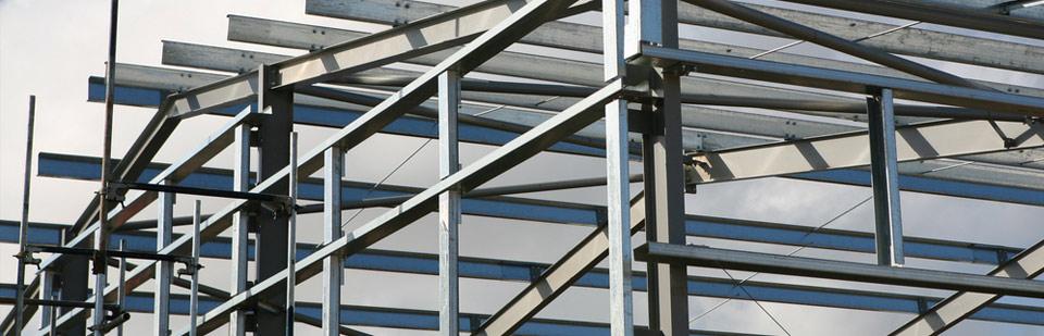 steel frames of a building