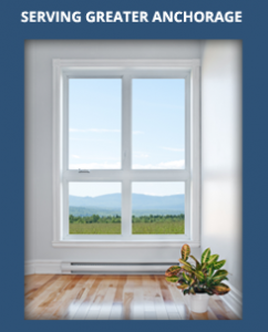 Window against a blue background